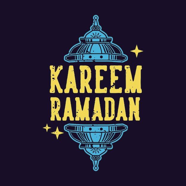 Conception De T-shirt Vintage Slogan Typographie Kareem Ramadan Sapin Vecteur Premium