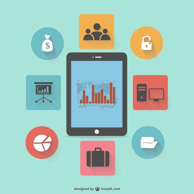 Conception de la tablette infographie plat Vecteur gratuit