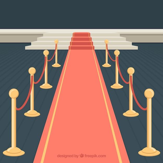 Conception de tapis rouge avec des escaliers Vecteur gratuit