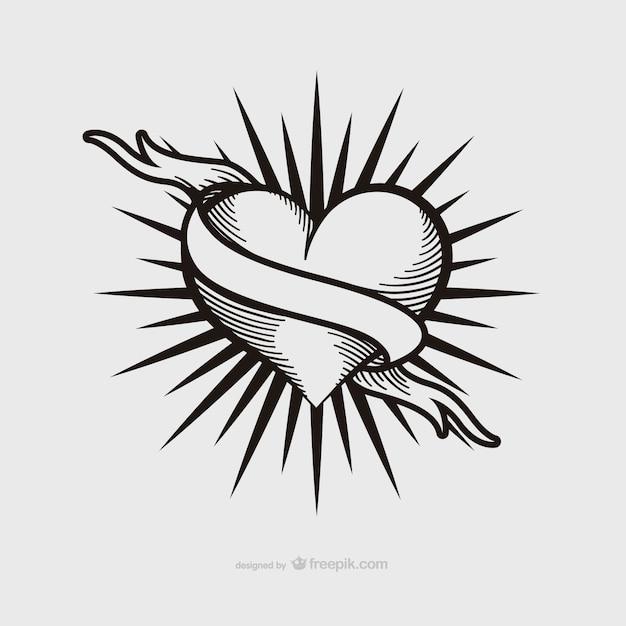 Conception de tatouage de coeur de cru Vecteur gratuit