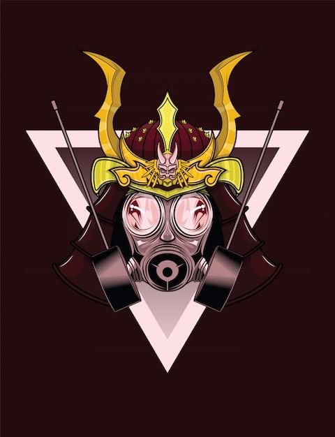 Conception de tatouage de masque à gaz de samouraï. Vecteur Premium