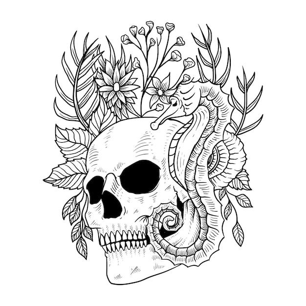 Conception De Tatouage Et De T-shirt Crâne Fleur Hippocampe Vecteur Premium Vecteur Premium
