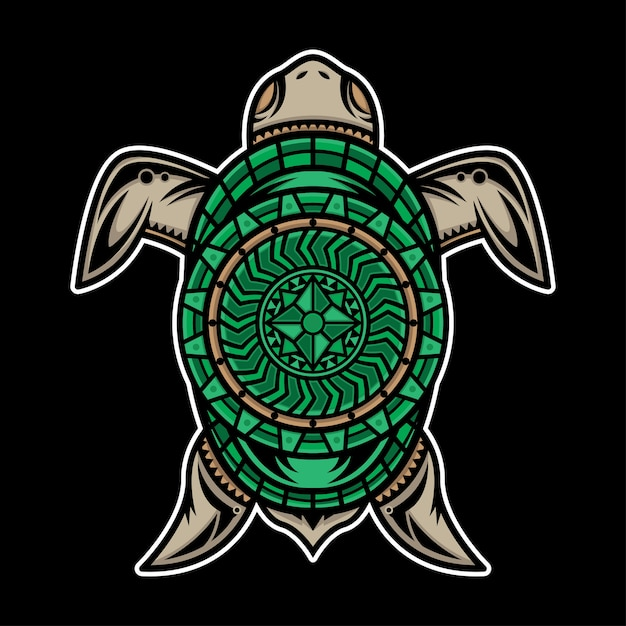 Conception de tatouage tortue polynésienne Vecteur Premium