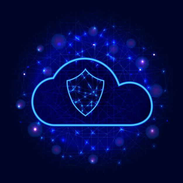Conception de la technologie de stockage de données en nuage protégé concept d'entreprise de cybersécurité avec bouclier Vecteur Premium