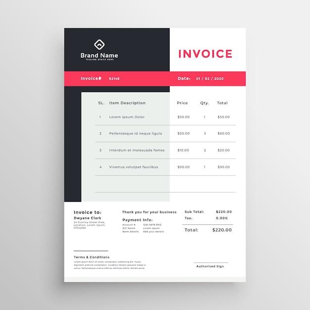 Conception de temaplate de facture créative pour votre entreprise Vecteur gratuit