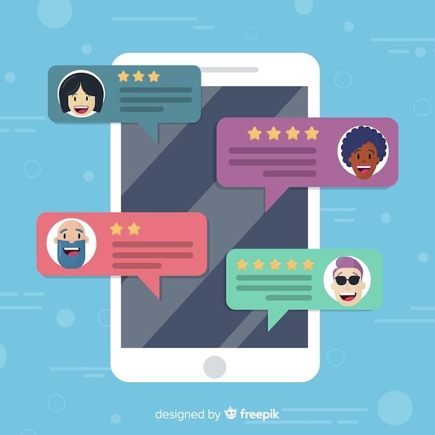 Conception de témoignage créatif avec concept de bulles de dialogue Vecteur gratuit