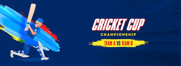 Conception en-tête ou bannière du championnat coupe du cricket. Vecteur Premium