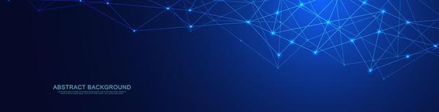 Conception D'en-tête Ou De Bannière De Site Web Avec Fond Géométrique Abstrait Et Points Et Lignes De Connexion. Connexion Au Réseau Mondial. Technologie Numérique Avec Fond De Plexus Et Espace Pour Votre Texte. Vecteur Premium