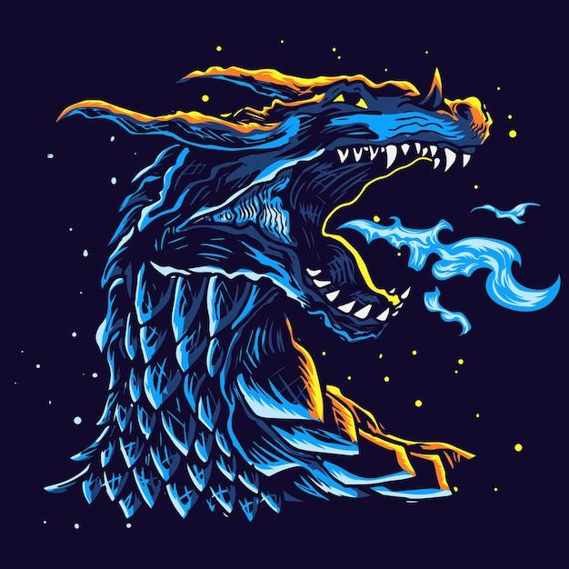 Conception De Tête De Dragon Bleu Vecteur Premium
