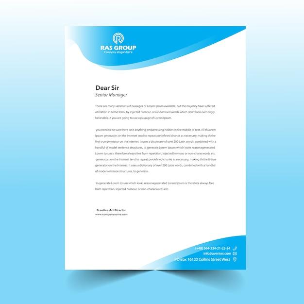 Conception De Tête De Lettre D'affaires Pour Le Bureau Vecteur Premium