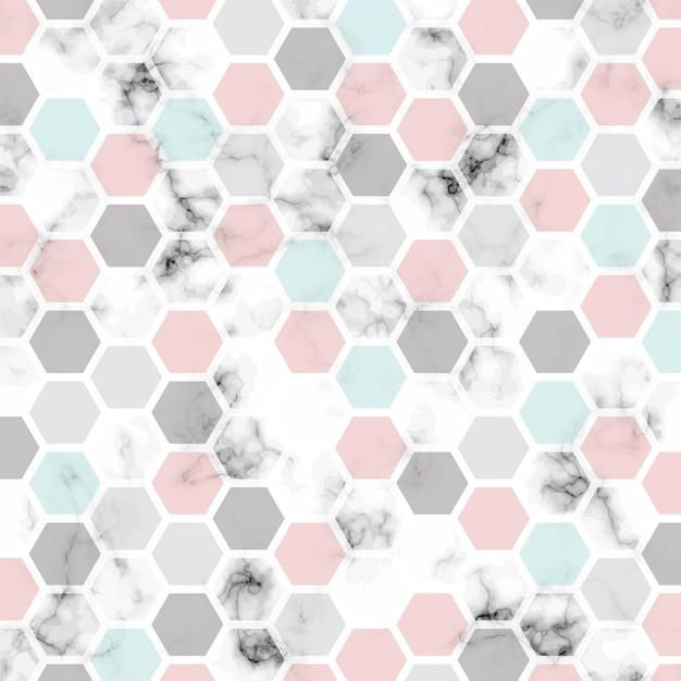 Conception de texture de marbre de vecteur avec motif en nid d'abeille, surface de persillage noir et blanc Vecteur Premium
