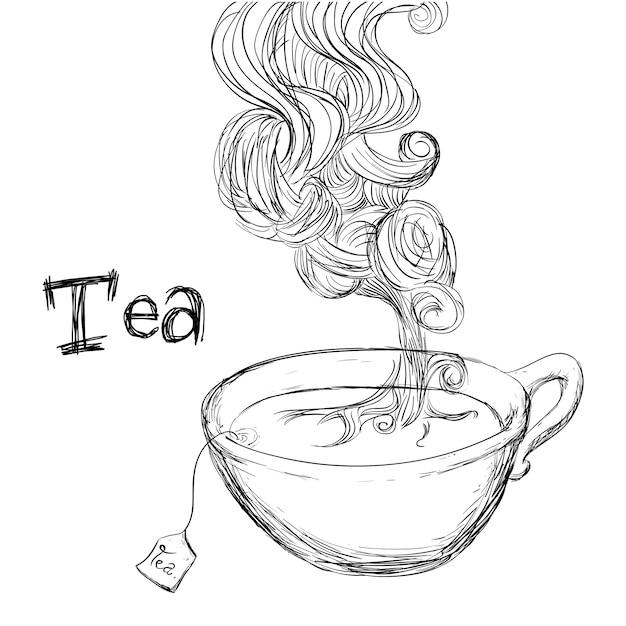 Conception de thé sur illustration vectorielle fond blanc Vecteur Premium