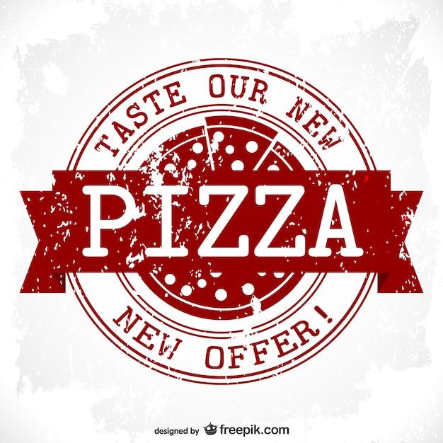 Conception Timbre Vecteur Pizza Grunge Vecteur Premium