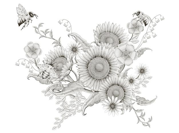 Conception De Tournesols Et D'abeilles D'ombrage Rétro élégant Floral, Gravure Sur Fond Blanc Vecteur Premium