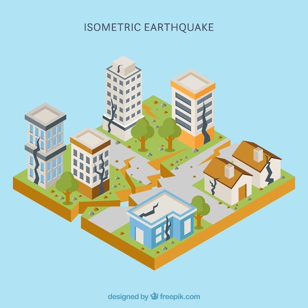 Conception de tremblement de terre isométrique Vecteur gratuit
