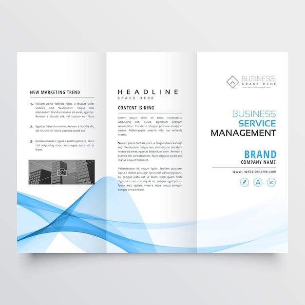Conception trifold entreprise brochure bleue forme ondulée abstraite Vecteur gratuit