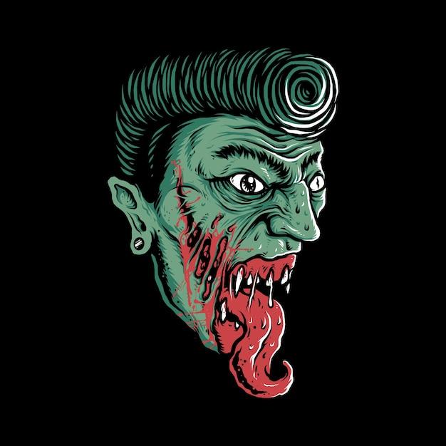 Conception De Tshirt Art Illustration Graphique Horreur Zombie Vecteur Premium
