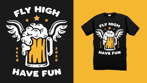 Conception De Tshirt Bière Volante Vecteur Premium