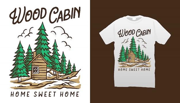 Conception De Tshirt De Cabine En Bois Vecteur Premium