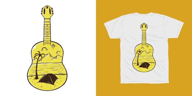 Conception De Tshirt Camp Aventure Camp De Guitare Vecteur Premium