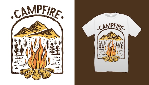 Conception De Tshirt De Feu De Camp Vecteur Premium