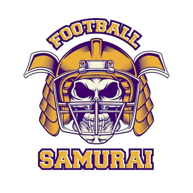 Conception De Tshirt Football Américain Samouraï Avec Style Rétro Vecteur Premium