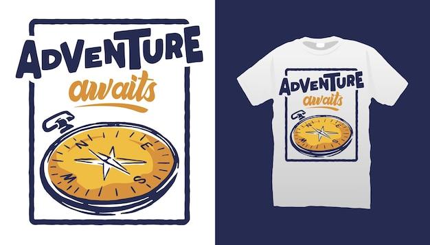 Conception De Tshirt Illustration Boussole Vecteur Premium