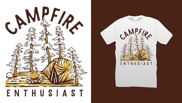 Conception De Tshirt Illustration De Camping Vecteur Premium