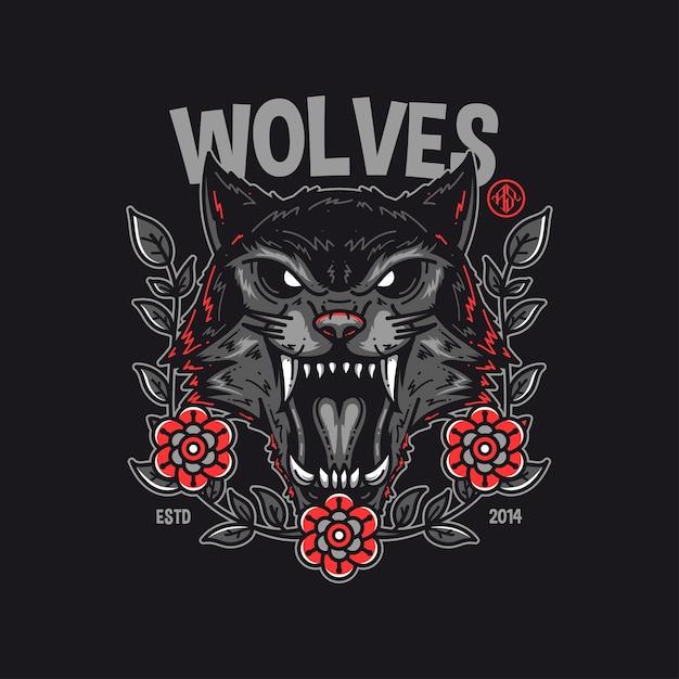 Conception De Tshirt Loups Vecteur Premium