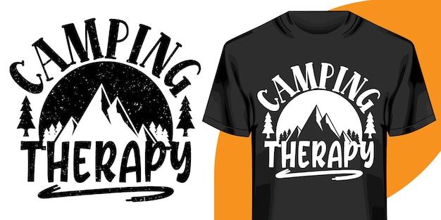 Conception De Tshirt De Thérapie De Camping Vecteur Premium