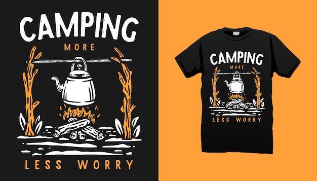 Conception De Tshirt De Vie De Camping Vecteur Premium