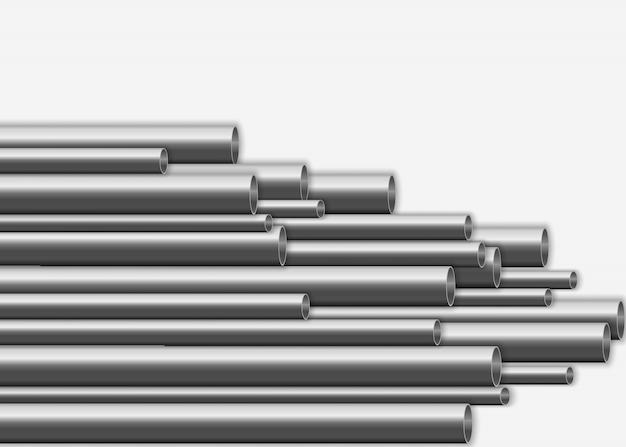 Conception De Tuyaux En Acier 3d Brillant. Concept De Fabrication De Pipelines Métalliques Industriels. Tubes En Acier Ou En Aluminium De Différents Diamètres Isolés Sur Fond Blanc. Illustration,. Vecteur Premium