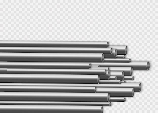 Conception De Tuyaux En Acier 3d Brillant. Concept De Fabrication De Pipelines Métalliques Industriels. Tubes En Acier Ou En Aluminium De Différents Diamètres Isolés Sur Fond Blanc. Vecteur Premium