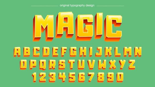 Conception de typographie 3d audacieuse jaune Vecteur Premium
