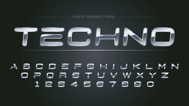 Conception de typographie abstraite chrome brillant Vecteur Premium