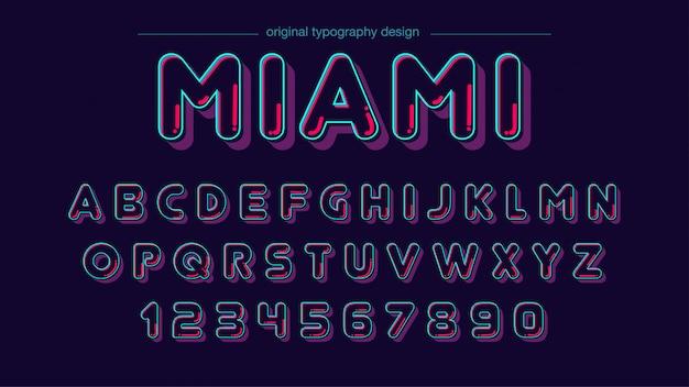 Conception de typographie arrondie de couleur néon Vecteur Premium