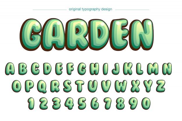 Conception de typographie bande dessinée verte bulle vibrante Vecteur Premium