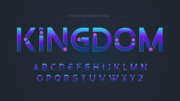 Conception de typographie bleue personnalisée futuriste Vecteur Premium