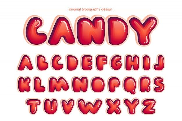 Conception de typographie comique arrondie rouge vibrant Vecteur Premium