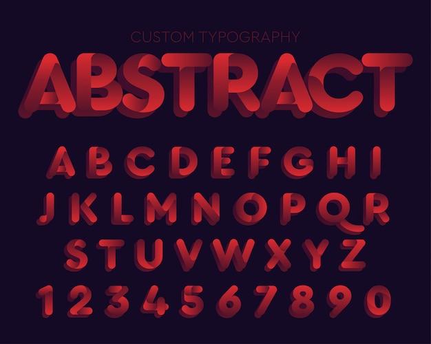 Conception de typographie de courbes rouges abstraites Vecteur Premium