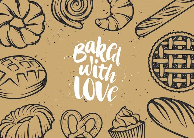 Conception de typographie dessinée à la main, cuite au four avec amour. Vecteur Premium