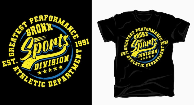 Conception De Typographie De Division Sportive Du Bronx Pour T-shirt Vecteur Premium