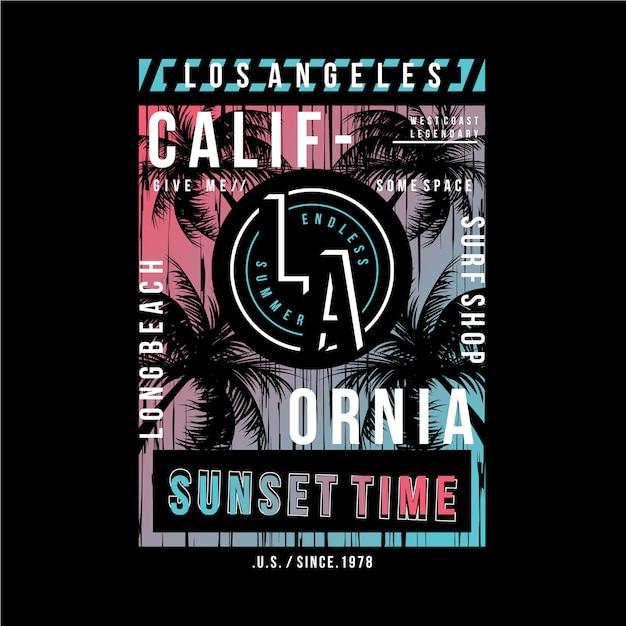 Conception De Typographie Longue Plage Californie Pour T-shirt Imprimé Vecteur Premium