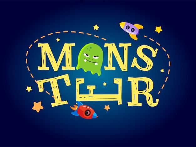 Conception de typographie de monstre. t-shirt graphique pour enfants Vecteur Premium