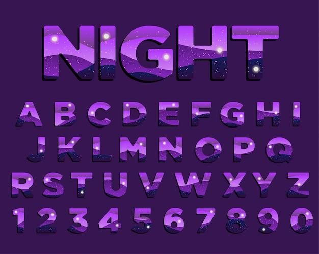 Conception de typographie nuit abstraite pourpre Vecteur Premium
