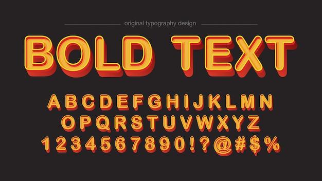 Conception de typographie rétro orange en biseau gras Vecteur Premium