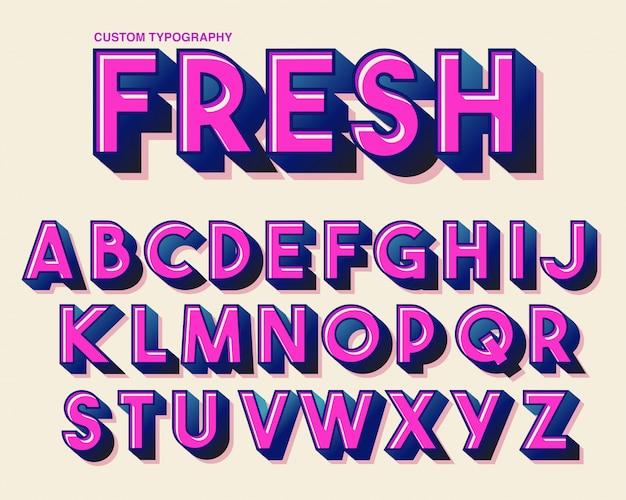 Conception de typographie rose coloré gras Vecteur Premium