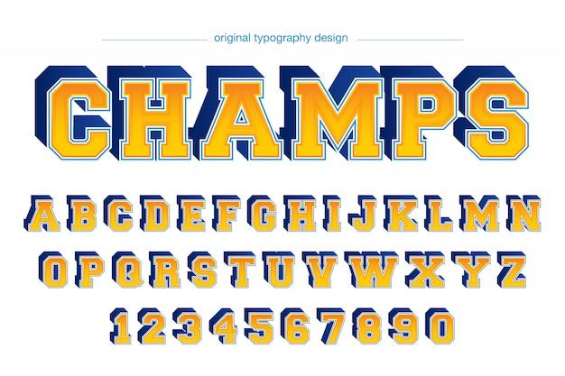 Conception de typographie de style collège coloré Vecteur Premium