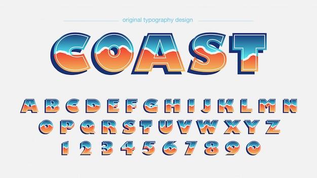 Conception de typographie de style rétro coloré Vecteur Premium