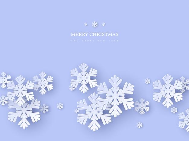 Conception De Vacances De Noël Avec Des Flocons De Neige De Style Papier Découpé. Fond Bleu Avec Texte D'accueil, Arrière-plan Vecteur Premium